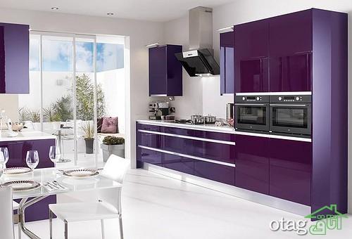 کابینت آشپزخانه بنفش رنگ شیک (11)