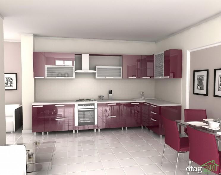 کابینت آشپزخانه بنفش رنگ شیک (12)