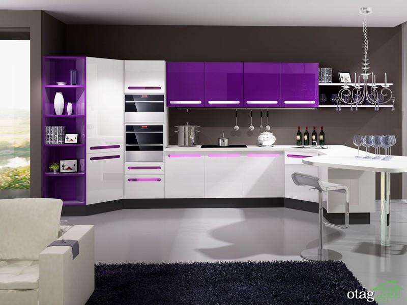 کابینت آشپزخانه بنفش رنگ شیک (2)