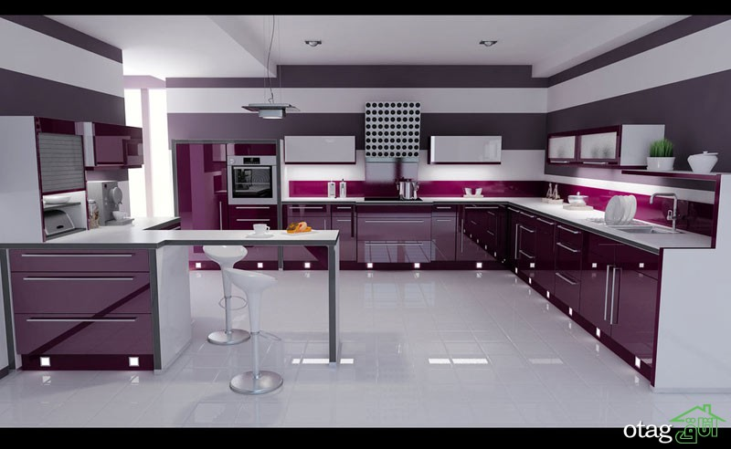 کابینت آشپزخانه بنفش رنگ شیک (3)
