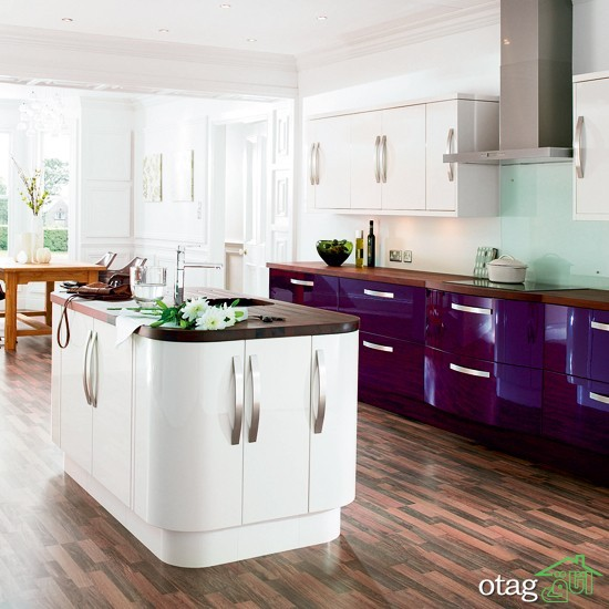 کابینت آشپزخانه بنفش رنگ شیک (4)