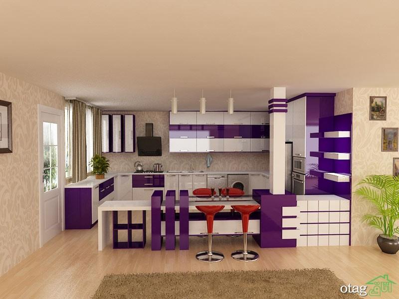 کابینت آشپزخانه بنفش رنگ شیک (5)