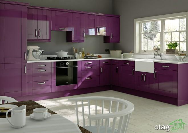 کابینت آشپزخانه بنفش رنگ شیک (6)