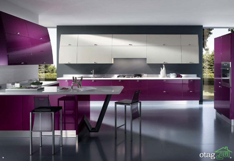 کابینت آشپزخانه بنفش رنگ شیک (7)