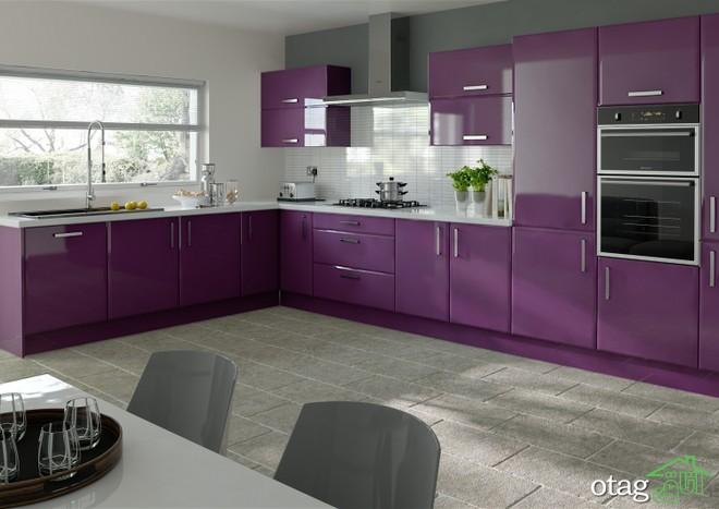 کابینت آشپزخانه بنفش رنگ شیک (8)