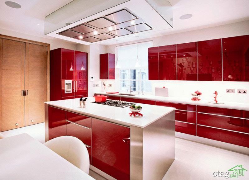 کابینت آشپزخانه قرمز رنگ (1)