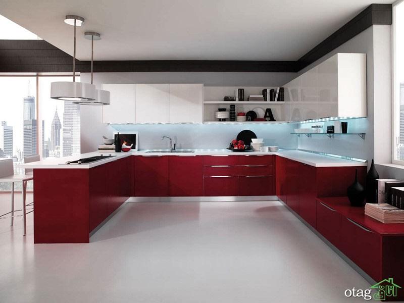 کابینت آشپزخانه قرمز رنگ (13)