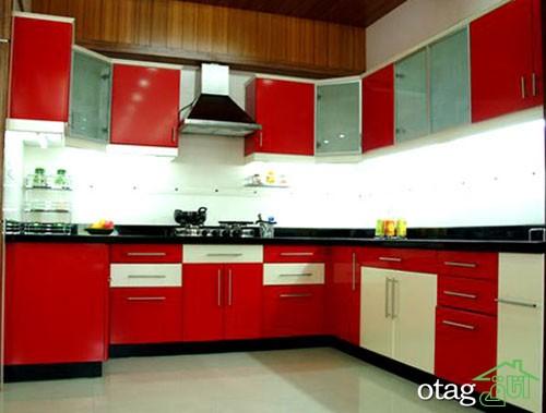 کابینت آشپزخانه قرمز رنگ (2)