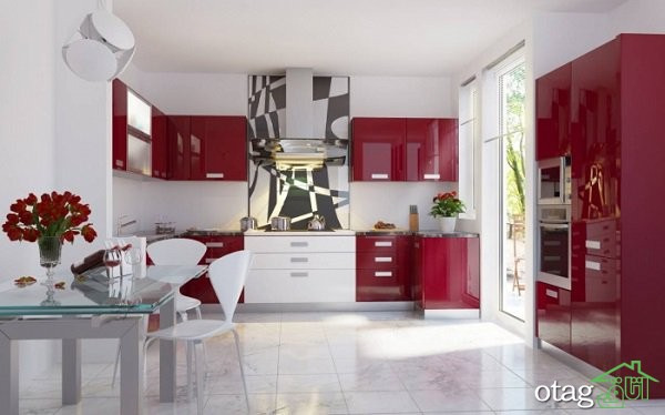کابینت آشپزخانه قرمز رنگ (3)