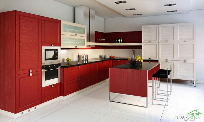 کابینت آشپزخانه قرمز رنگ (5)