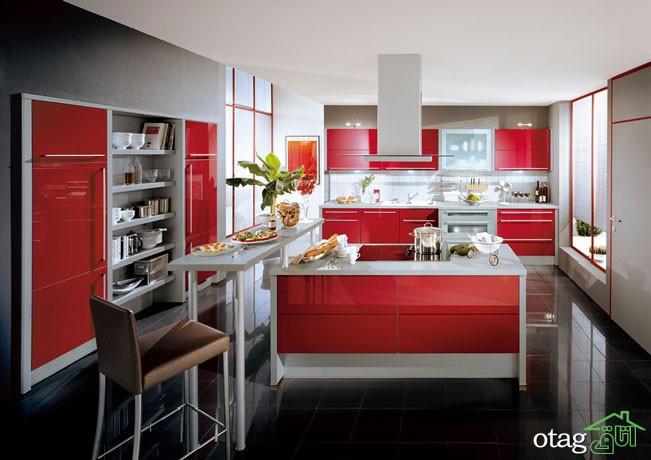 کابینت آشپزخانه قرمز رنگ (6)