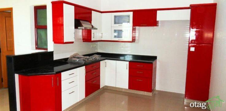 کابینت آشپزخانه قرمز رنگ (7)