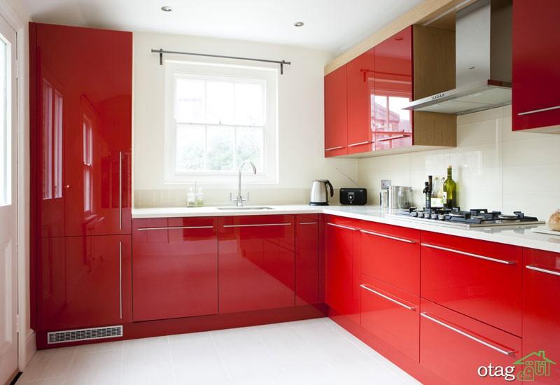 کابینت آشپزخانه قرمز رنگ (8)