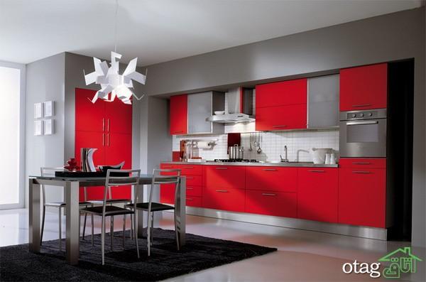کابینت آشپزخانه قرمز رنگ (9)
