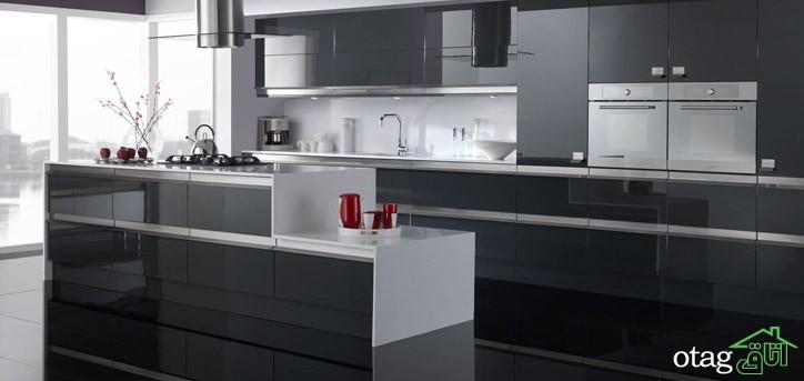 کابینت آشپزخانه مشکی شیک (1)