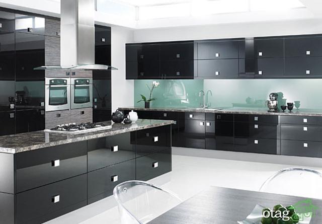 کابینت آشپزخانه مشکی شیک (13)