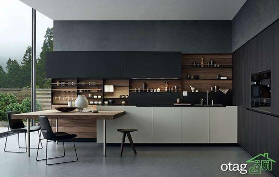 کابینت آشپزخانه مشکی شیک (15)