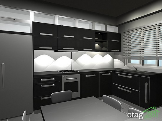 کابینت آشپزخانه مشکی شیک (3)