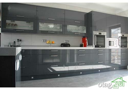کابینت آشپزخانه مشکی شیک (7)