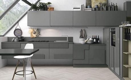 30 عکس دکوراسیون آشپزخانه جدید با رنگ کابینت سفید طوسی