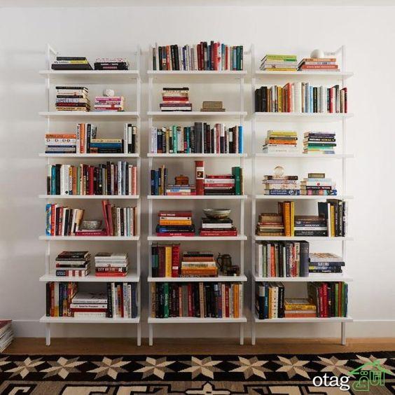 انواع طرح و مدل کتابخانه دیواری + عکس شلف دیواری چوبی و ام دی اف
