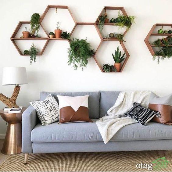 تزیین دیوار اتاق پذیرایی و نشیمن با کاغذ دیواری شیک و زیبا