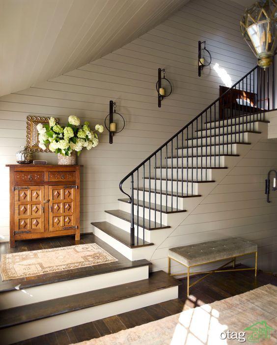 تزیین راه پله خانه دوبلکس با رنگ و نصب موکت و لوازم دکوری