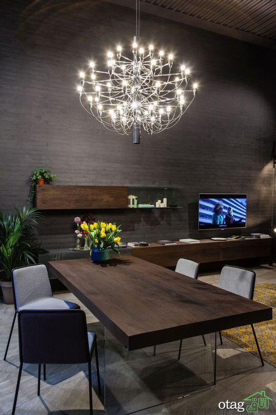مدل لوستر بالای میز ناهارخوری در سبک های مدرن، امروزی و کلاسیک