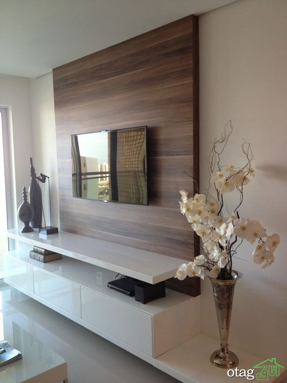 18 طرح زیبای میز ال سی دی دیواری مدرن برای اتاق نشیمن