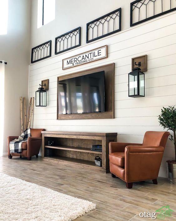 راهنمای طراحی دیوار پشت تلویزیون با ایده های جذاب و شیک