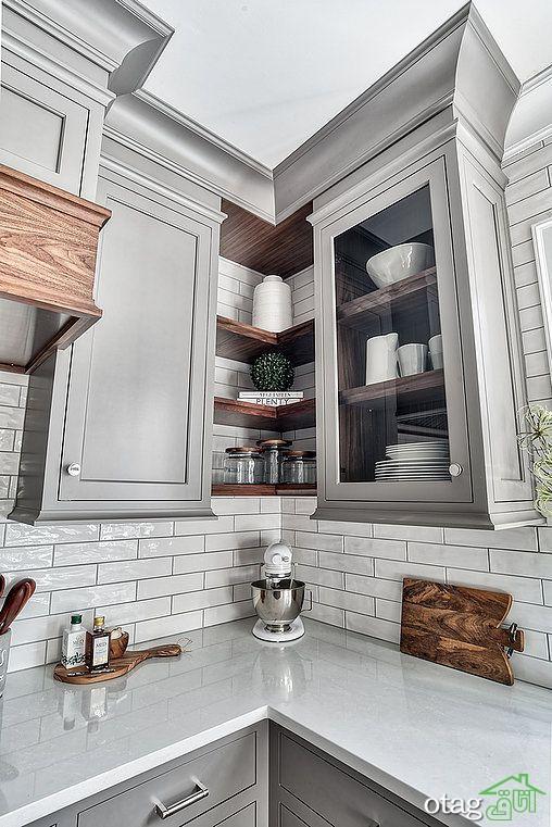 کابینت گوشه آشپزخانه با طراحی کاربردی مناسب فضای کوچک