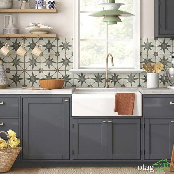 طراحی دیوار پشت ظرفشویی در دکوراسیون آشپزخانه های مدرن