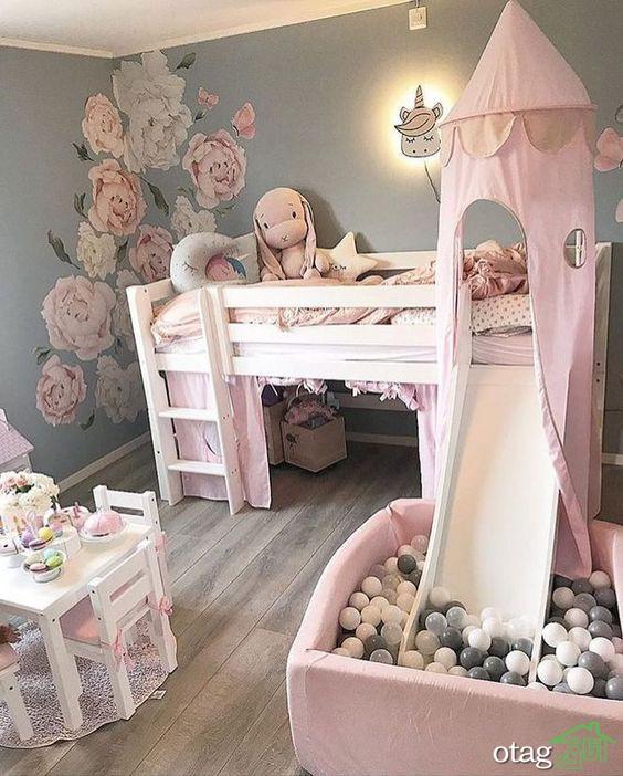 مدل تخت خواب دخترانه بسیار شیک و زیبا برای اتاق جوانان