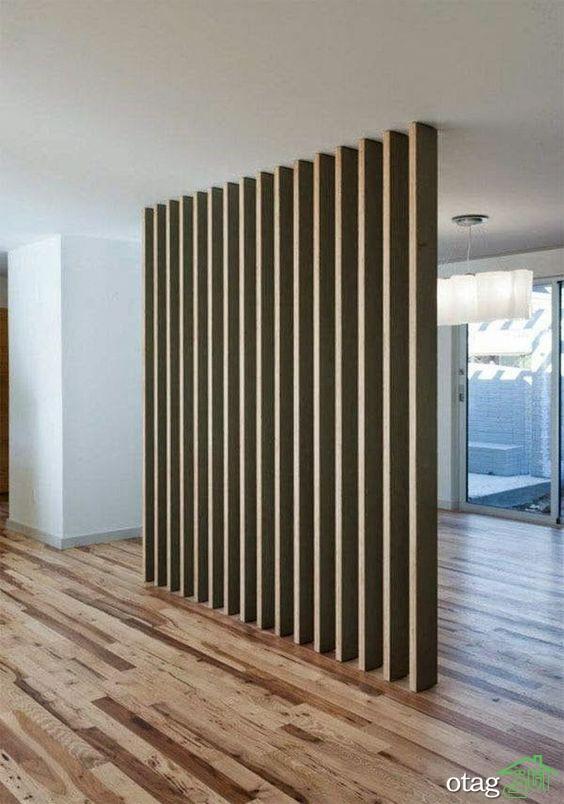 استفاده از دیوار متحرک چوبی در طراحی داخلی آپارتمان 50 متری