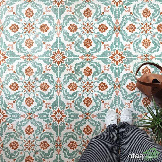 کاغذ دیواری طرح کاشی شیک مناسب حمام و سرویس بهداشتی