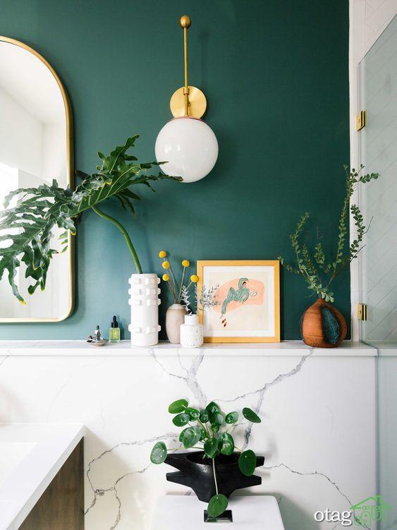 طراحی دکوراسیون سبز و سفید در [ حمام و دستشویی ] به بهترین شکل