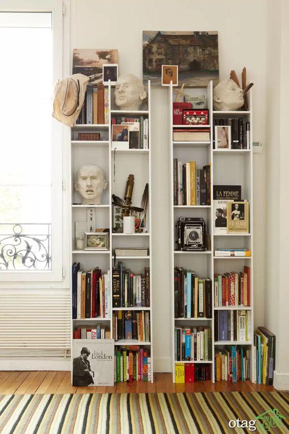کتابخانه خانگی مدرن سفید قهوه ای