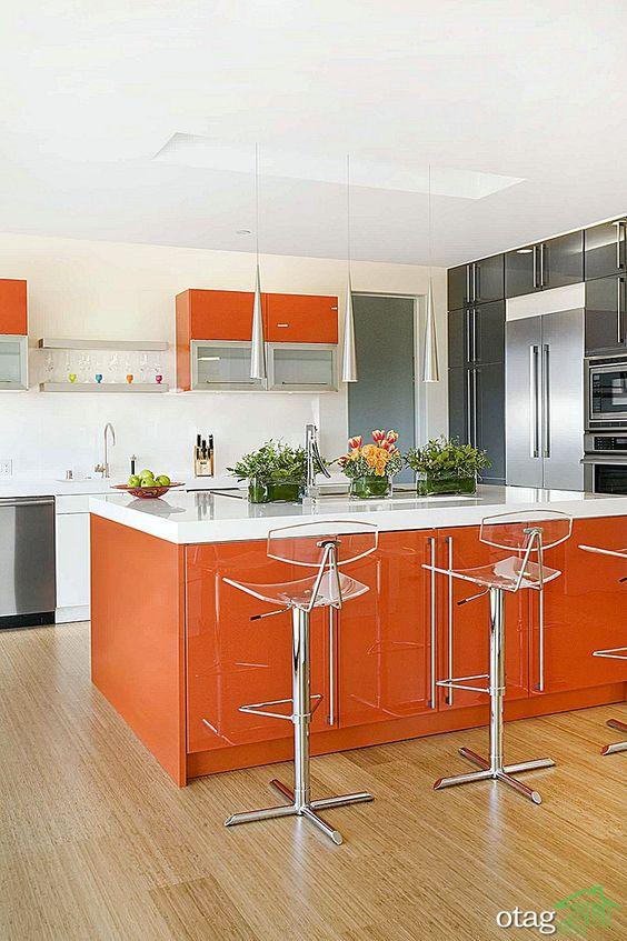 طراحی اصولی دکوراسیون آشپزخانه نارنجی، دیوارها و کابینت ها