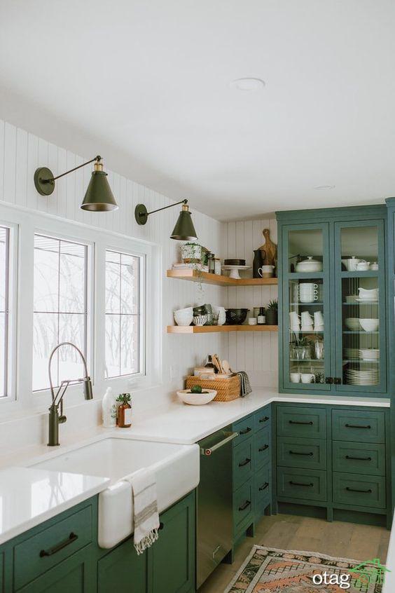 راهنمای طراحی آشپزخانه با رنگ سبز، طیف رنگی و چیدمان