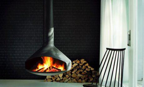 طراحی داخلی نقاط کانونی خانه با شومینه فلزی