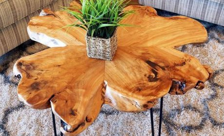 طراحی میز قهوه و میز جلو مبلی با ورقه های چوب طبیعی