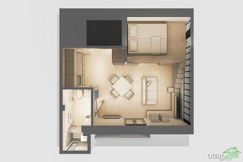 طراحی داخلی دو آپارتمان نیم طبقه 29 و 60 متری بسیار شیک