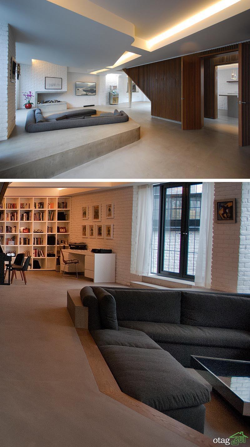 30 مدل اتاق پذیرایی و نشیمن پله دار بسیار شیک و متفاوت