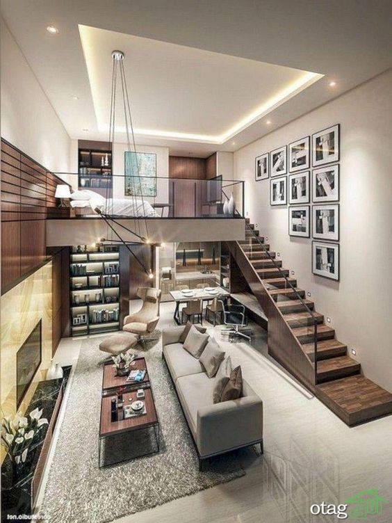 30 مدل زیبا از خانه های نیم طبقه همراه با پلان های سه بعدی