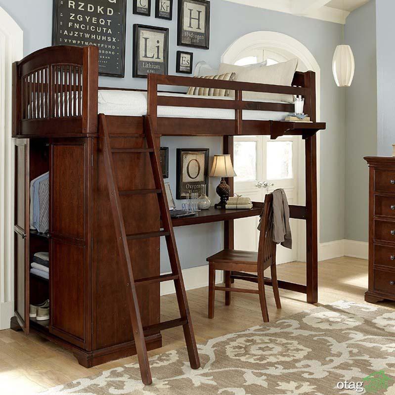 مدل های جدید تخت خواب نوجوان پله دار همراه با میز تحریر