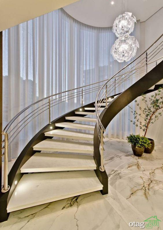 مدل های جدید سنگ راه پله دوبلکس در رنگ های سفید و مشکی