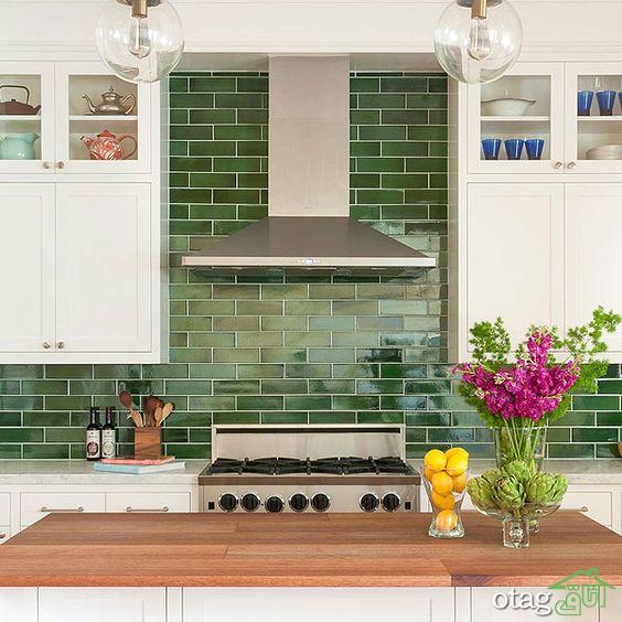 30 مدل کاشی رنگ سبز مناسب حمام، سرویس بهداشتی و آشپزخانه