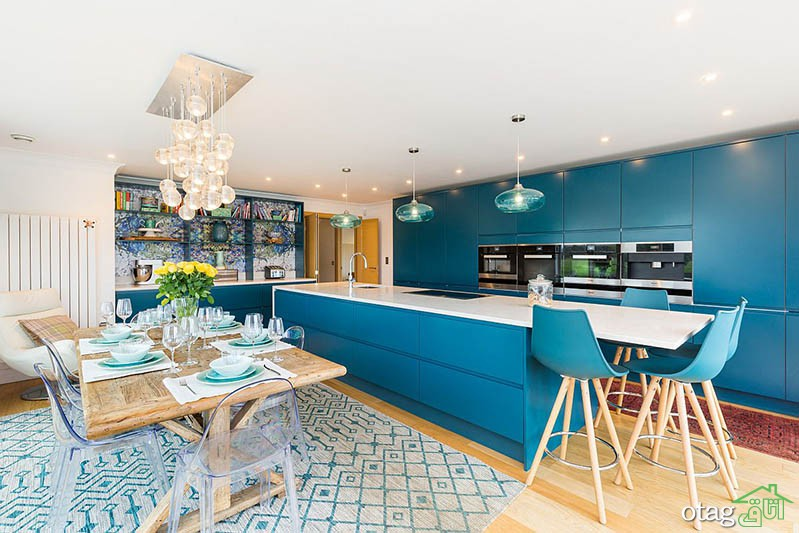 30 مدل رنگ آمیزی آشپزخانه به رنگ فیروزه ای با تم سرحال و خنک