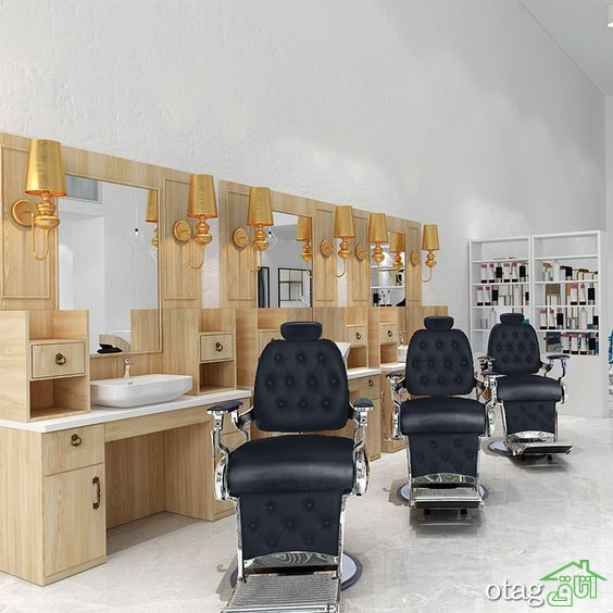 40 مدل دکوراسیون آرایشگاه مردانه با نورپردازی بسیار شیک