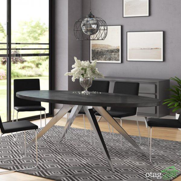 40 مدل میز ناهارخوری بیضی شکل در طرح های مدرن و کمجا